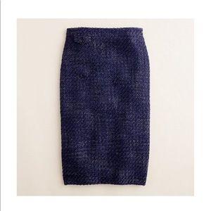 J.Crew The Pencil Skirt Navy Tweed
